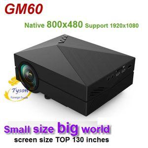 GM60 Mini proyector LCD de mano Soporte nativo 800x480 HDMI Multichip Lente recubierta 1000 lúmenes Proyector LED