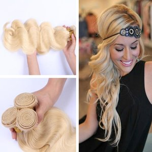 Neue Ankunft 100% 7A Blonde 613 # Russisch Brasilianische Reine Haarkörperwelle Menschenhaar Spinnt 3 Bundles 300G 8-30 zoll 613 haarverlängerungen