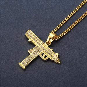Nouveau CZ Pierre Assault Gun Pendentif Collier Avec Petit Cubain Chaîne Pistolet Machine Pendentif Collier Hip Hop Bijoux Hommes Femmes