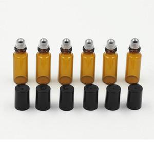 Frascos de vidro ambarinos do rolo do vidro de 1ml 2ml 5ml com a esfera de metal para o óleo essencial, a aromaterapia, os perfumes e os bálsamos de bordo o tamanho perfeito para Tra