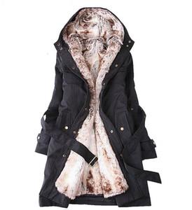 Kadın için Kadın Kuzu Yün Ceket Toptan-Kadın Kış Coat Ucuz Kalınlaşma Sıcak Kapşonlu Parka Palto PLUS SIZE XXXL