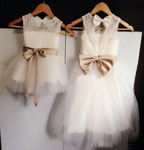 New Real Flower Girl Dresses Bow Sashes Keyhole Party Communion Lace Pageant Dress for Wedding Little Girls Kids Children Dress