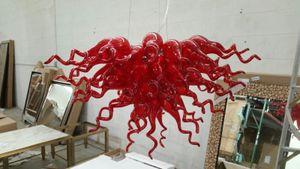 100% ручной работы выдувное стекло Современное искусство Люстра Красный муранского стекла Дизайнер Люстра для дома Villa Decor