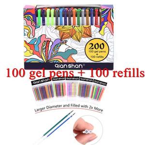 Novo Design 200Gel Canetas Conjunto 100Refilições 100Canetas coloridas Glitter Metálico Mágico Pastel Desenho Clássico Pintura Para Adulto Livro de Colorir