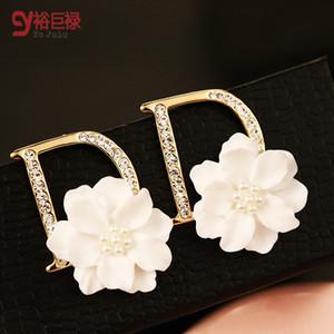 D Ohrringe für Frauen Mode Luxus hohe Marke simuliert Diamant Blume Ohrringe 18K vergoldet heißen Allergie frei ER00371