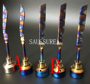 2016 Anodisé Coloré Titanium Carb Cap Rainbow Ti Nail dabber 14mm et 18mm pour Fumer De L'eau tuyau de verre D'huile Rigs Vaporisateur