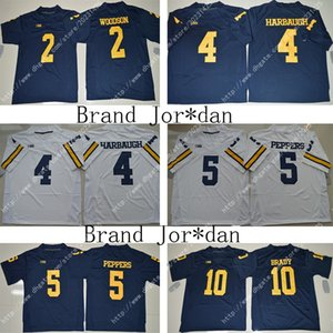 NWT 미시간 # 10 Tom Brady Wolverines 21 Desmond Howard Jumpman 5 Jabrill Peppers 2 찰스 우드 슨 4 Jim Harbaugh Football Stitched Jersey