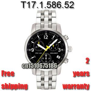 Hot New 2016 Reloj de hombre con cronógrafo de correa de acero completo Cristal de zafiro Modelo T17.1.586.52 Movimiento suizo ETA 100% original T17158652 T17 + caja