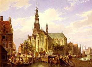 Cityscape Old Dutch Rua com Igreja, Artesanato Pure Edifício Cenário pintura a óleo Art em alta lona da qualidade, em tamanhos personalizados
