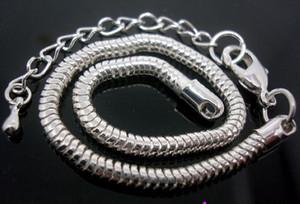 En gros en vrac Prix bas 20pcs / Lot base de cuivre argent plaqué mousqueton fermoir serpent chaîne 3mm Bracelets 20cm + 7cm Fit européen charmes perles