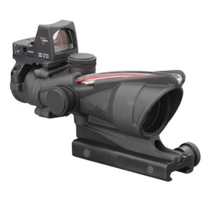 Tactical Trijicon Style 4X32 Real Fiber Source Duel Illuminated Sight Scope RMR Micro ACOG Style Rifle Scope With Micro Red Dot