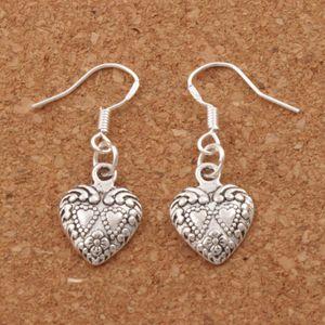 Double Dots Hearts Earrings 925 Silver Fish Ear Hook 40pairs / lot Antique Silver Chandelier E907 11.5x32mm
