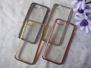 Bling Luxury Metallic Покрытие Soft TPU Gel Case Electro моды Делюкс хромированной крышки кожи силикона для Iphone 7 Iphone7 4.7 4.7 '' i7 / Plus