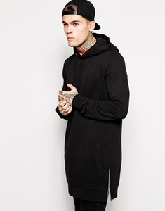 Wholesale- New arrived longline hoodies men fleece solid sweatshirts fashion tall hoodieSets the spring and autumn period and the long hood