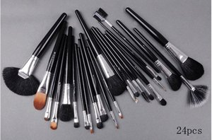 Free Shipping!new Arrivals 24Pcs set Professional brush with leather pouch (10pcs lot)