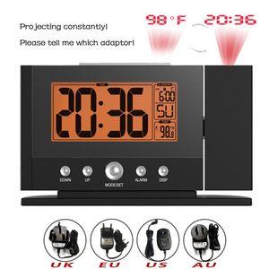 MALDR LCD Цифровой дисплей В помещении Температура Время Треновые Часы Подсветка Подсветка Настенные Потолочные Проекция Проекция Потона Будильник с Адаптером