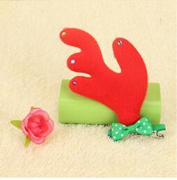 2017 The most hot product Christmas children decorated cloth art headdress holiday party Christmas deer horn hairpin hair accessories