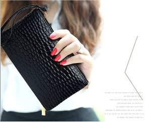 Women Lady PU Leather Clutch Purse Bag Satchel Handbag Crocodile Print Evening Bag Day Clutches Walletbag Fashion Handags Black