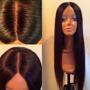 4x4 Ipek Tabanı Ipeksi Düz Perulu İnsan Saç Dantel Ön / Tam Dantel Peruk Bebek Saç Ile