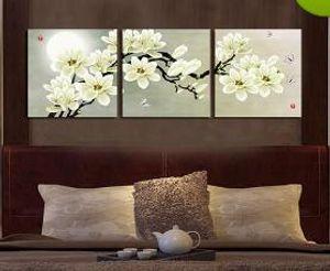 Encadré m34-fleur de prunier 3 panneaux, pure peinture à la main énorme maison de mode murale Wall Deco Art peinture à l'huile sur toile