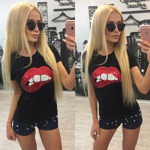 En gros 2017 été nouvelle mode paillettes rouge brodé rouge à lèvres à manches courtes en coton t-shirt pour les femmes