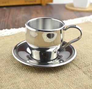 Copa al por mayor del estilo europeo de alta calidad en acero inoxidable y platillo de café Conjunto doble taza de café pared 3 Tamaño