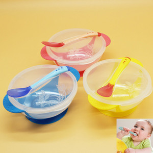 Temperature Sensing Spoon Bowls Sets PP Baby Learnning Dishes With Suction Cup Assist Food Bowl Drop Baby Bowl Sets Above 6Months HH-B23