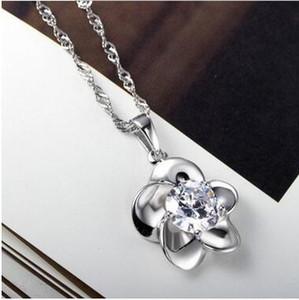 925 스털링 실버 도금 브랜드 다이아몬드 매화 꽃 화이트 크리스탈 펜던트 체인 목걸이 NO 체인 DHL 크리스마스 선물