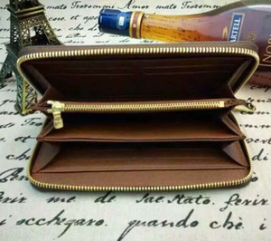Wholesale top quality genuine leather classic standard wallet fashion leather long purse moneybag zipper pouch coin pocket note compartment
