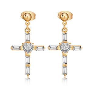 Мода ювелирные изделия ясно цирконий CZ кластера 18K желтое золото покрытием крест серьги для женщин