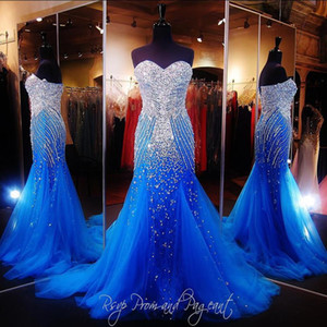 Royal Blue Luxury Prom Dresses Sweetheart Crystal Mayor Beading Mermaid Long Runway Party Party Pageant Bates para mujer personalizada 2021