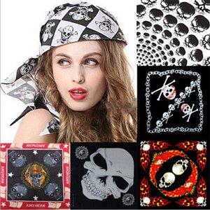Atacado New Cotton Pirate Skull Bandana Máscara Facial Halloween Costume Headband Scarf Pulseira bufandas nq674106