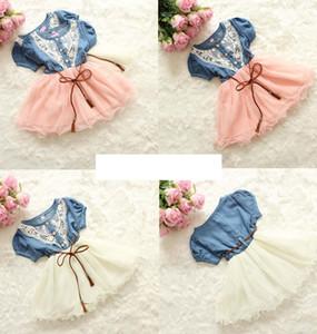 INS meninas rendas denim tutu vestido de flor com cinto de manga curta do bebê da criança princesa azul denim dress