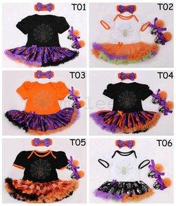 Infant Holloween pagliaccetto set 3pc Pattini di bambino manica corta in cotone fiore tutu romper ragazze che camminano ragazze fascia