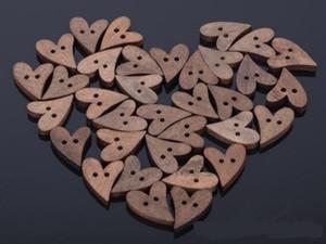 freeshipping Brand New 100 / lot en bois brun en bois couture coeur Bouton Shape Craft Scrapbooking 20 mm pour le vêtement Accessoires