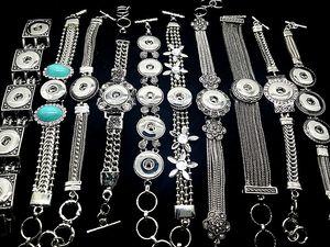 Toptan 10 adet mix stilleri kadın Antik Gümüş Snap Düğmesi Charm Chunk Zencefil Değiştirilebilir takı zincir bilezikler