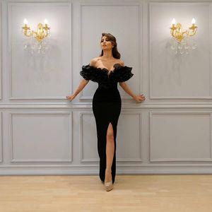 2019 Sexy Meerjungfrau Abendkleider Boot Schulterfrei mit Yousef aljasmi Labourjoisie Trompete Abendkleider Partykleider Front Split