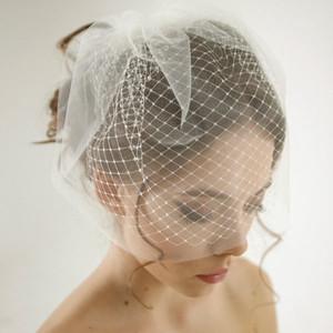 Çift Katmanlı Birdcage Düğün Peçe 12 '' / 29 cm Gelin Aksesuarları Beyaz / Fildişi Mesh Kısa Düğün Birdcage Veils Yüz Kapakları