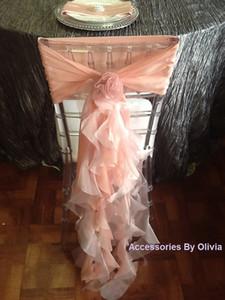 Custom Made 2016 Kadınsı Allık Organze Sandalye Ruffles Sandalye Sashes Kapakları Romantik Düğün Süslemeleri Düğün Malzemeleri
