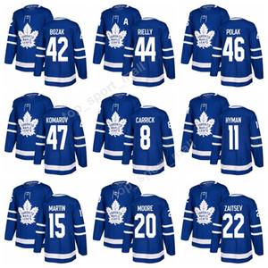 Nouveaux chandails de hockey des Maple Leafs de Toronto 2017 8 Connor Carrick 20 Dominic Moore 31 Frederik Andersen 47 Leo Komarov 46 Roman Polak