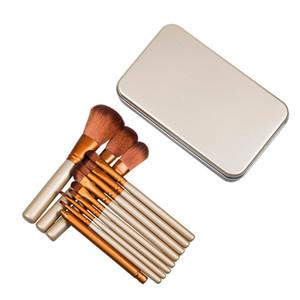 La spazzola professionale del contenitore di metallo del corredo cosmetico di trucco 12pcs di trucco mette la spazzola della polvere di fronte con il logo N3 Trasporto veloce del DHL