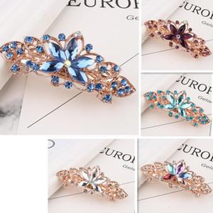 Rose Golden Plated Crystal Flower Hairclip Bridal Wedding Hair Clips Rhinestone Hairclip Barrettes Women Hair Jewelry