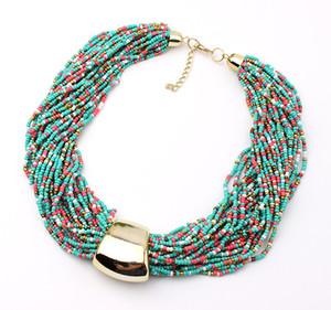 Wholesale-2016 neue böhmische Quaste kurze Halskette mehrschichtige Rocailles Halsketten fanish jeweiry für Frau [CN96825]