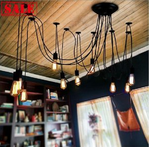 Venta directa de fábrica DIY RH E27 Edison Chandelier clásico vintage luz antigua sala de araña comedor luz de techo