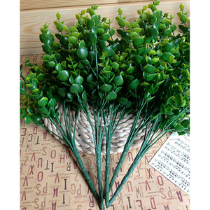 Wholesale- Hot New Green 7-Branches Artificial Fake Floral Plastic Eucalyptus Plant Flowers Cafe Office Home Room Hotel Table Decor