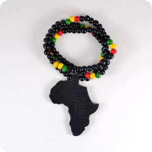 20pc bon bois NYC X Chase Infini Noir Afrique Carte En Bois Perles Collier Hip Hop De Mode Bijoux