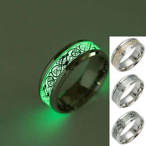 Titanium Dragon Tattoo Ring Bague Lumière Fluorescente Anneaux Bande Lueur Dans La Sombre Or Argent Noir Motif Bijoux Drop Shipping