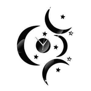2016 벽시계 새로운 도착 석영 시계 3 큰 달빛 시계 현대적인 디자인 럭셔리 거울 3 차원 크리스탈 시계 아크릴 TY1934
