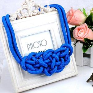 Fashion Pendentif Collier ras du cou pour femmes multicolore Creative coton Handwoven Déclaration des bijoux corde Charm collier noeud chinois Colliers
