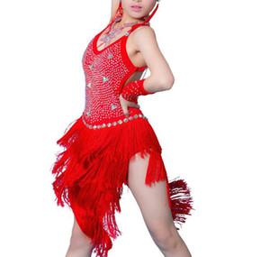 Latin Jupe Fille De Haute Qualité Sur Mesure Profession Gland Rumba Costume Enfants Frange Concurrence Danse Robe Latine
